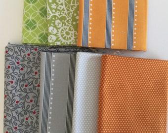 Bree - Art to Heart - Nancy Halvorsen- 7 different fat quarters - gray - orange - green