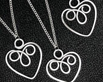 Celtic Infinity Heart Pendant,Friendship Heart Necklace, Hammered Aluminium Infinity Love Heart Pendant