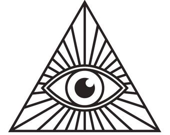 Illuminati eye pyramid vinyl decal sticker for Car/Truck Window computer all see