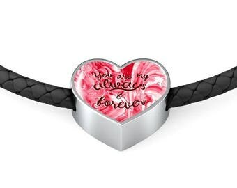 You Are My Always & Forever Heart Shaped Woven Leather Charm Bracelet, Valentine Gift, Pandora Style Charm Bracelet