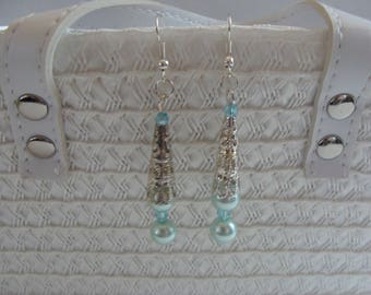 dangle hook earrings blue beads and hollow tube bead