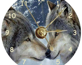 Two Wolves kissing on a clock printed on astandard 12cm cd disc plus stand