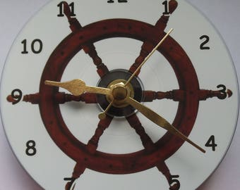 Ships wheel clock printed on a standard 12 dvd disc, can be personalised