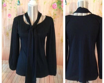 Vintage Miss Shaheen Black Pleated Long Sleeve Top