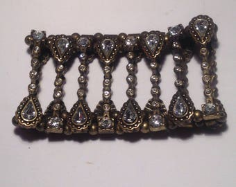 Vintage Goldtone and Rhinestone Stretch Bracelet