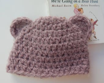Baby Bear Hat - Mauve / Size 6 mos. / READY TO SHIP / Item #MB01