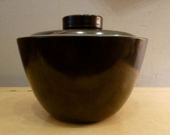 Large RARE Vintage Edith Heath Covered Bowl California Design Stoneware Dark Brown Unusual Style Lid