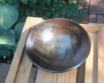 Tenmoku Speckled Pottery Serving Bowl
