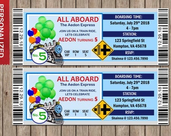 Train Invitation, Train Birthday Invitation, Train Birthday, Train Ticket, Train Printable Invitation, Thomas Invite, Ticket Invitation
