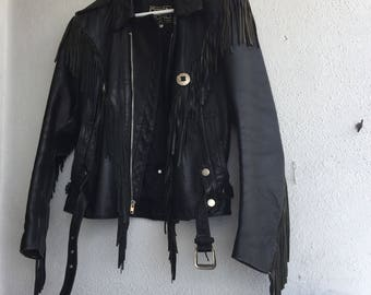 Vintage Black Leather Fringed Biker Jacket