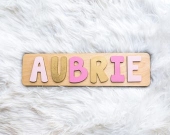Name Puzzle, Pink and Gold Nursery, First Birthday Gift for Girl, Baby Shower Gift, Gift for Toddler, First Birthday Gift, Personalized Name