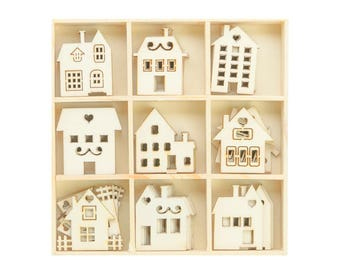 Wooden Houses - Box of 45 Assorted - Home Decor, mixed media and papercrafts