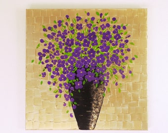Modern art Flowers Wall decor Contemporary art Flowers Painting Flowers in vase Abstract flowers Modern 3D wall art Home decor for bedroom