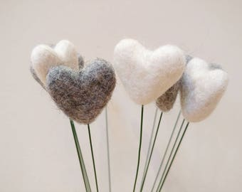 Heart Billy Buttons, felt heart, valentine's gift, valentine's flowers