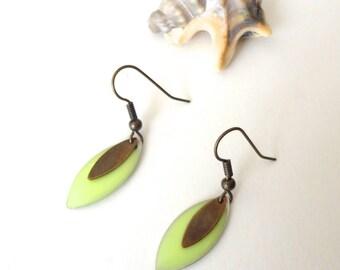 Minimalist earrings, Spring Green oval sequins, bronze sequins