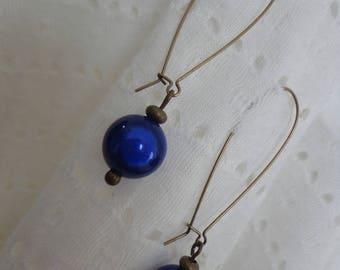 Stud Earrings dark blue magic beads, bronze
