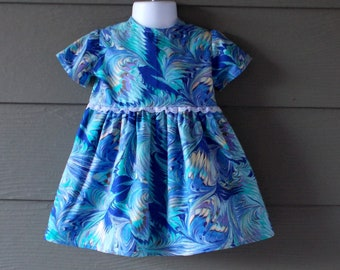 Shades of Blue Paint Swirl Print Toddler Dress