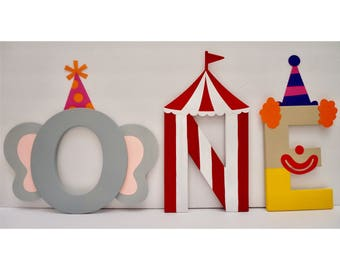 ONE Circus Themed Letters (price is per letter) | Circus Party | Circus Birthday | Carnival Birthday Party | Carnival Theme Party |