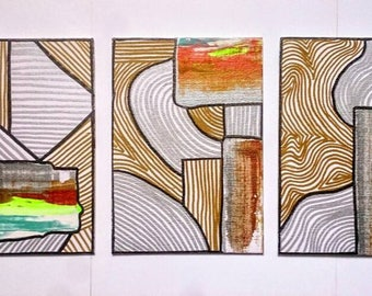 Abstract Painting Set of 3 Neon Metallic Abstract Original Art on Canvas Board 5'' x 7'' Small Wall Art Set of Paintings Neon Gold Acrylic