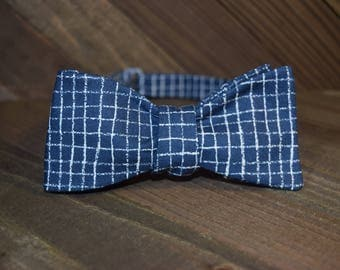 Blue Plaid Self Tie Bow Tie