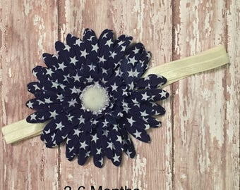 Blue Flower with White Stars Headband