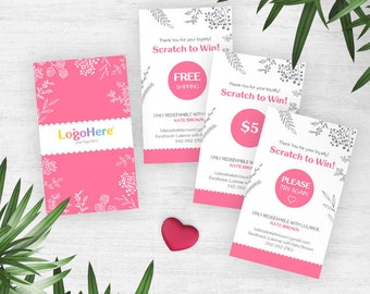 Pink Lula Scratch Off Cards, Free Customizing, Lula Coloring, Prize Cards, Loyalty, Scratch to win, Loyalty Cards