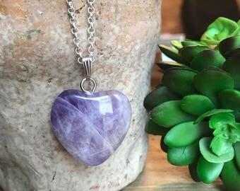 Amethyst Heart Necklace // Amethyst Crystal // Heart Necklace // Sterling Silver // February Birthstone // Purple