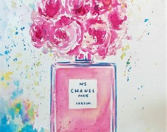 SUMMER SALE -Original peonies painting,peonies watercolor painting,pink peonies,pink peony,pink flowers,flowers in chanel vase,pink floral
