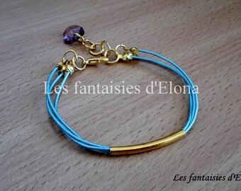 Sky blue leather bracelet / gold