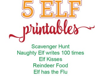 Elf Printable Bundle, Elf Printable Kit, Elf Scavenger Hunt, Naughty Elf writes 100 times, Elf Kisses, Reindeer Food, Elf has the Flu