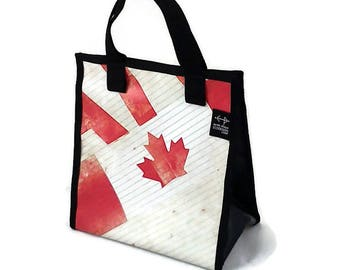 Red, beige, Canada Lunch bag