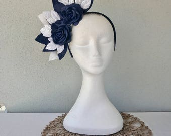 Ladies navy & white leather floral crown headband fascinator