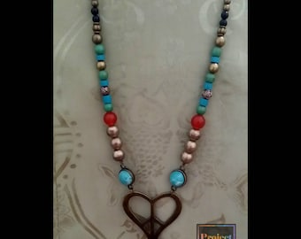 One of a Kind, Vintage, Turquoise and Brass Necklace - Peaceful Heart