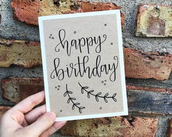 Happy Birthday Greeting Card - Handmade Calligraphy Birthday Card - Kraft Paper Overlay - Single Card