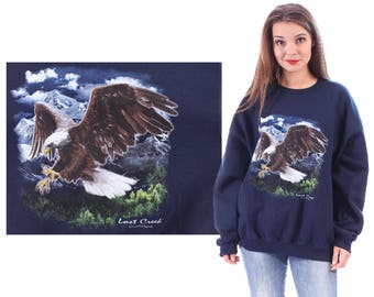 Bald EAGLE Shirt 90s Animal Sweatshirt  Graphic Print Flying Bird Cotton Jumper Slouchy Crew Neck Navy Blue Vintage Extra Large XL