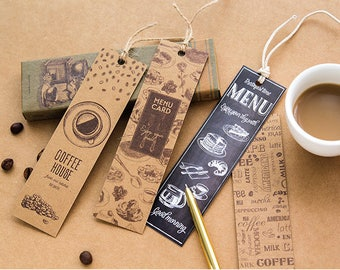 30 Pieces Coffee Shop Bookmarks - Bookmarks/Gift Tags/Scrapbooking Supplies