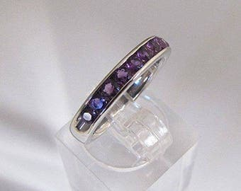 Silver ring decorated with 9 Amethyst size 52