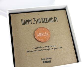 Personalised Happy 25th Birthday Keepsake Gift, Lucky Penny Birthday Gift