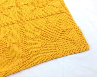 Sunshine Yellow Hand Knit Baby Blanket - Sun Design