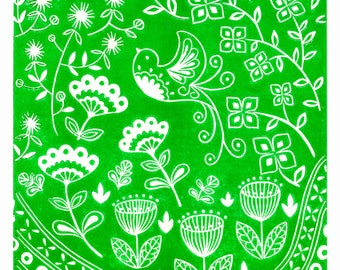 Daisy Bird in green, limited edition scandinavian folk art, linocut print