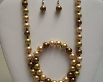 3 pc. Brown and Gold Pearl Necklace Set,Jewelry Sets,Jewelry,Pearls,Gift Ideas,Gifts for Her,Women,Necklaces,Earrings,Bracelets