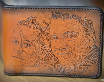 Couple portrait hand engraved leather wallet. Tan billfold with coin compartment personalized with your own photo. Free gorgeous packaging