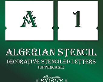 Vintage Uppercase Font Stenciled Letters –Algerian Stencil Font – Decorative Uppercase Letters #072