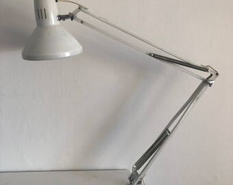 Vintage white ledu 1970 architect lamp