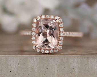 Morganite Rose Gold Engagement Ring, Diamond Wedding Band, Cushion 9x7mm Morganite Wedding Ring in 14k Rose Gold with Diamond Halo