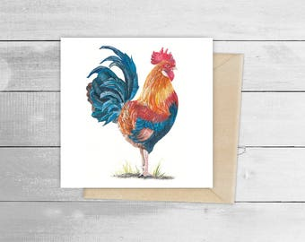 15cmx15cm Red Rooster Greetings Cards