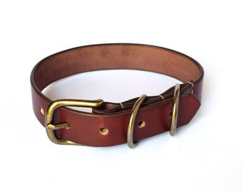 "Leather Dog Collar - Full Grain Veg Tan Collar - ""Harald"" - Walnut - Handmade in UK"
