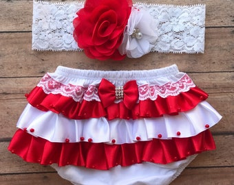 Christmas red and white baby toddler bloomer - baby gift set - christmas headband - baby headband - baby bloomer - christmas bloomer set