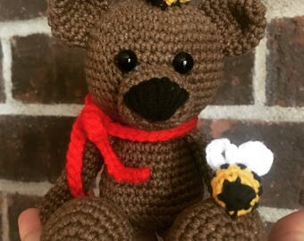 Bee mine teddy bear amigurumi crochet toy