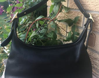 Coach Bag / Vintage Coach HOBO / Style 9059 / Beautiful Black Leather and Solid Brass Hardware / Made in the US